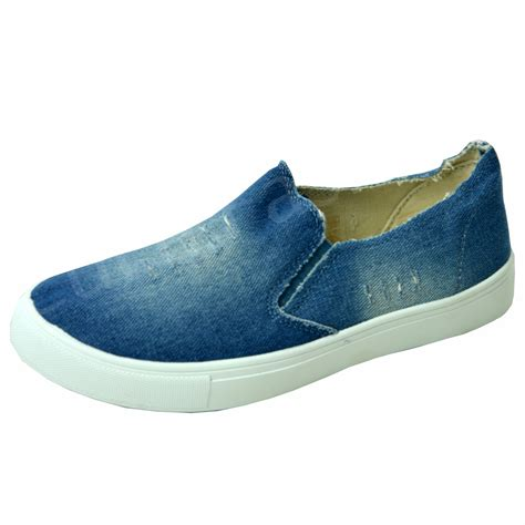 Slip On Casual Denim Grey new womens denim canvas slip on flat trainers casual shoes size uk ebay