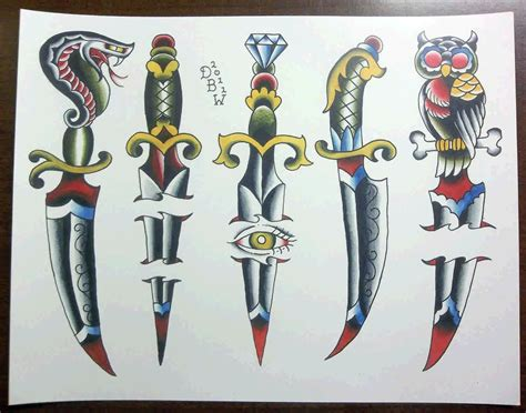 tattoo dagger designs colorful dagger design key