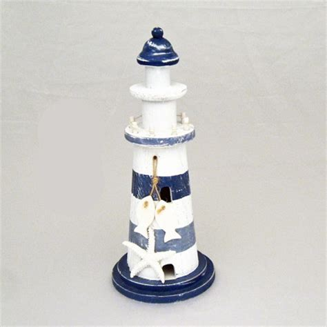 starfish wooden lighthouse nautical themed rooms 11 quot blue white striped wood lighthouse with starfish