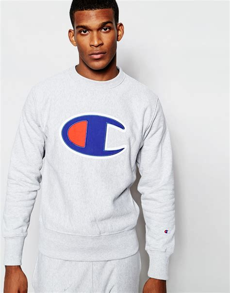 Hoodie Sweater Grey Front Logo lyst chion sweatshirt with big c logo in gray for