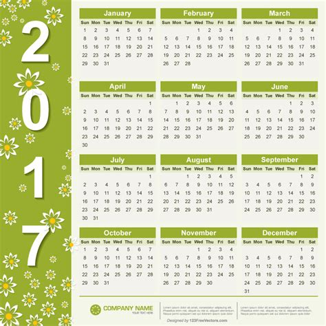 Calendar 2o17 Free Vector 2017 Calendar By 123freevectors On Deviantart