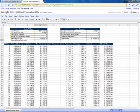loan amortization table excel 2010