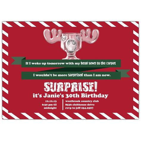 surprised moose mug christmas vacation invitations