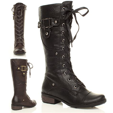wide calf lace up boots womens lace up zip low heel buckle biker