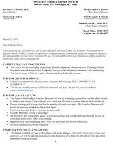 Coronavirus Letter To Congregation | The Nineteenth Street