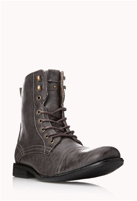 combat boots for forever 21 distressed combat boots in brown for lyst