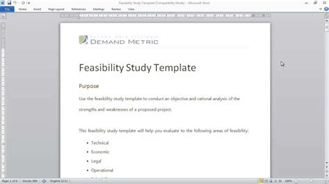 feasibility study template youtube