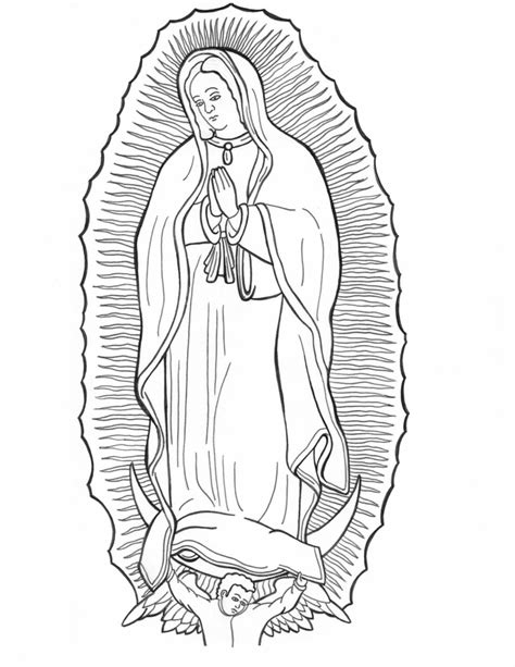 Our Lady Of Guadalupe Coloring Page Coloring Home Our Of Guadalupe Coloring Pages