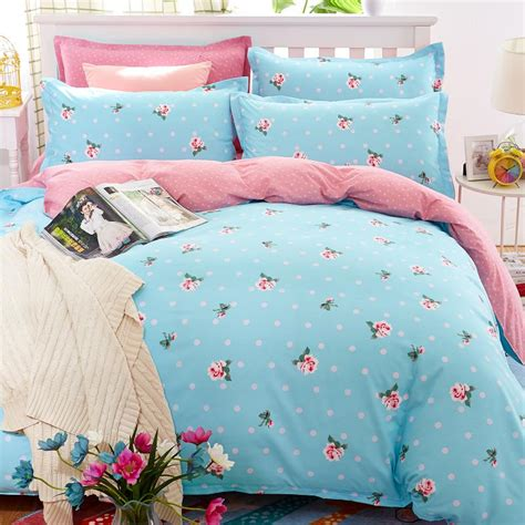 Youth Bed Sheet Sets Floral Bedding Set Polyester Cotton Bed Linen Sets 4pcs Bedspreads Size Blue