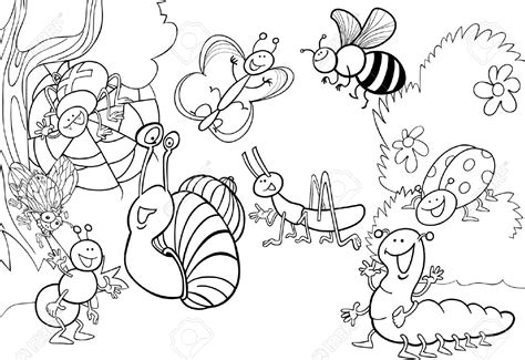coloring pages of bugs and butterflies insects coloring pages cartoon illustration of funny