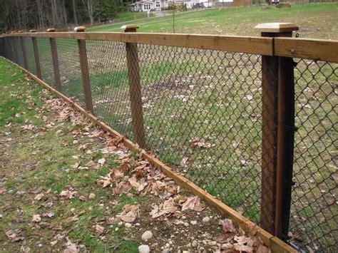 chain link fence  cedar wood trim fence ideas