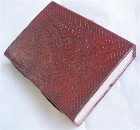 Handmade Paper Diary - handmade paper leather bound embossed journal vintage