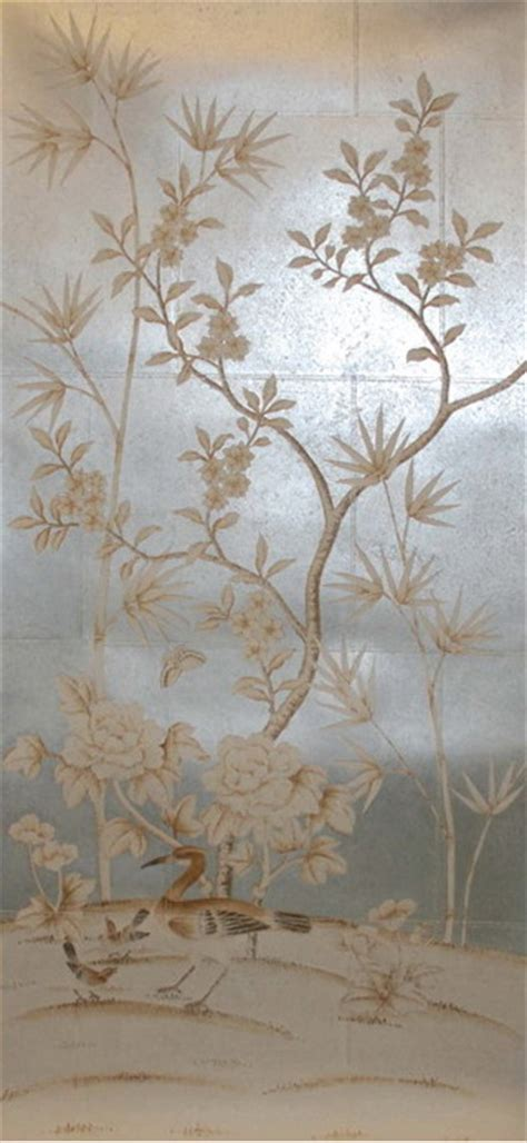 hand painted wallpaper :: chinoiserie wallpaper :: silk wallpaper :: chinese wallpaper :: hand