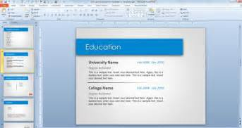 Slide Templates For Powerpoint 2010 by Free Resume Powerpoint Template Cv Template Free