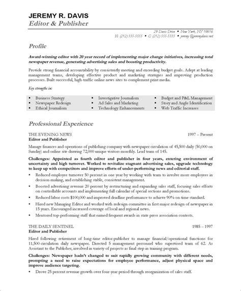 Resume Sle For News Editor Managing Editor Free Resume Sles Blue Sky Resumes