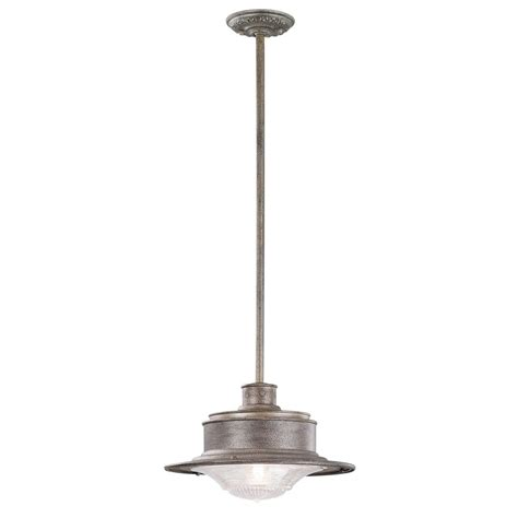 Outdoor Galvanized Lighting Troy Lighting South 1 Light Galvanized Outdoor Pendant F9396og The Home Depot