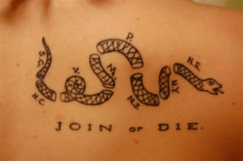 liberty or death tattoo instead of join or die it ll say liberty or