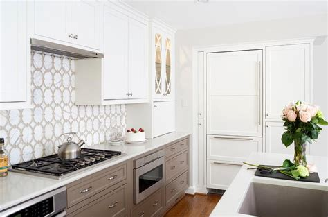 Lower Kitchen Cabinets Drawers by White Kitchen Cabinets With Taupe Lower Kitchen