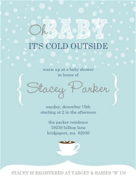 Winter Baby Shower Invitations And Inspiration Baby It S Cold Outside Invitation Template