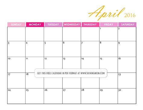 printable calendar 2016 pretty free printable april 2016 calendars