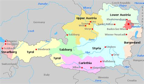 austria regions map austria map with regions