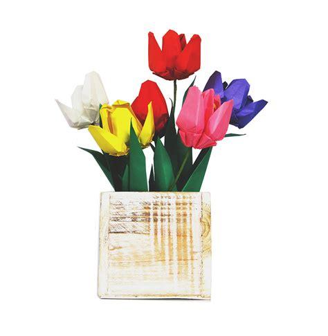 Origami Flowers Tulip - premium origami tulip gift set with wooden vase