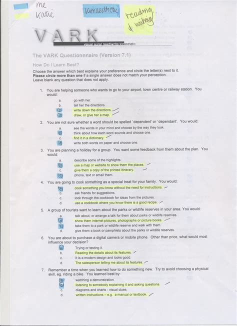 printable learning styles questionnaire different learning styles how can we apply the information