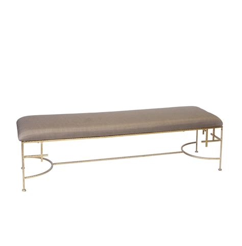 60 Inch Upholstered Bench Worlds Away 60 Inch Lenght Hammered Gold Leaf Bench With