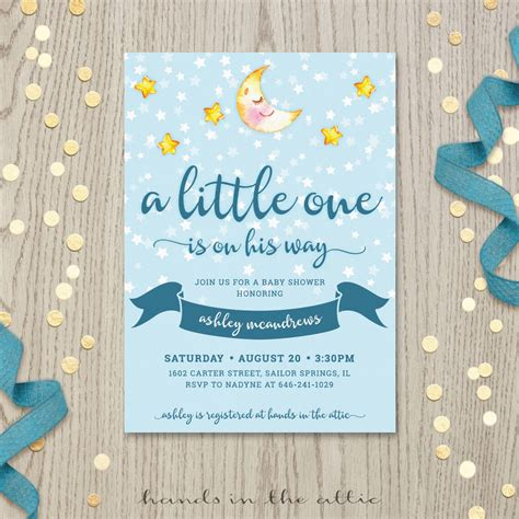 Moon Invitation Card Template by And Moon Baby Shower Invitation Printable