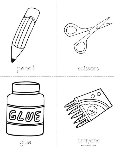coloring page school things school supplies book twisty noodle