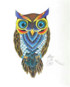 colored owls owl color practice by tattoofox on deviantart