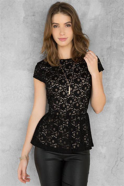 Elaine Blouse elaine black lace peplum blouse tops s