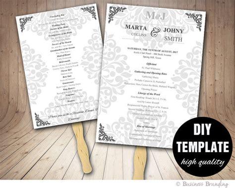 wedding program fan template diy instant microsoft