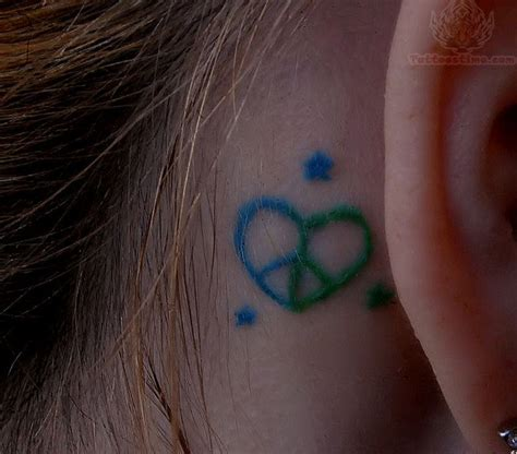 heart tattoo behind ear peace ear