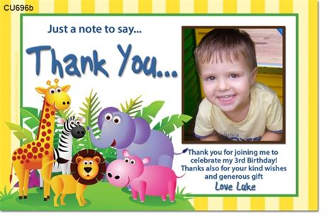 1st birthday thank you card template cu696b jungle birthday invitation thank you