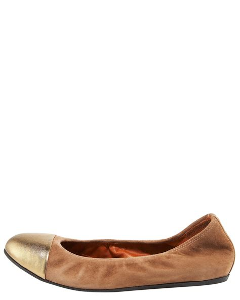 Le Agavi Ballet Flat Shoes Camel lanvin metallic toe suede ballerina flats in brown lyst