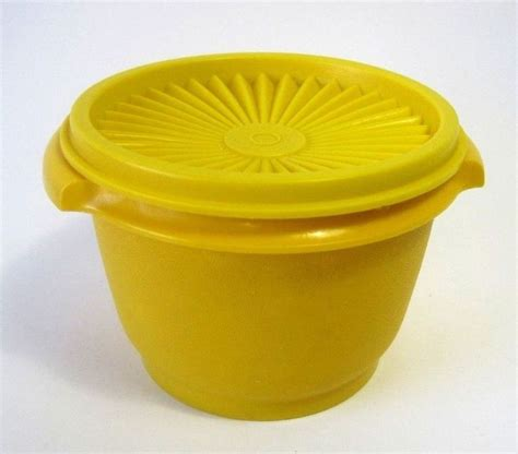 Tupperware Small Bowl Yellow Green tupperware small yellow bowl with lid vintage for
