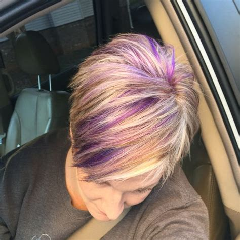 pixie haircuts with brown hair with blonde highlights blonde pixie haircut with purple and fuchsia highlights