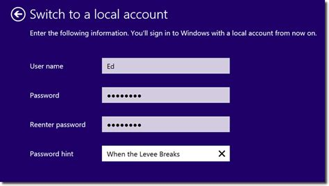 windows 8 1 reset password tablet how to switch your windows 8 1 log in to a local account