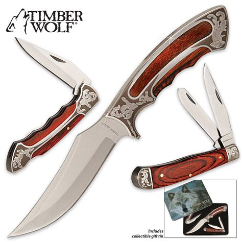 timberwolf knives timber wolf knife set with gift tin budk knives