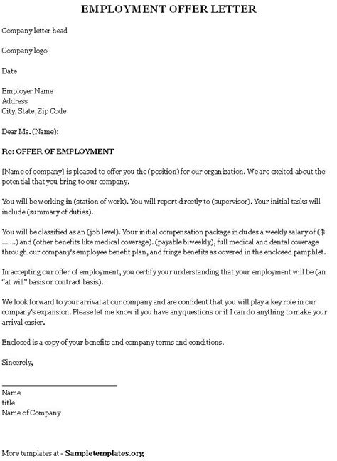 Offer Letter Of Employment Template Employment Template For Offer Letter Sle Of Employment Offer Letter Template Sle Templates