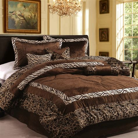 bed comforters king new 7pc in set luxury safarina brown zebra animal bedding