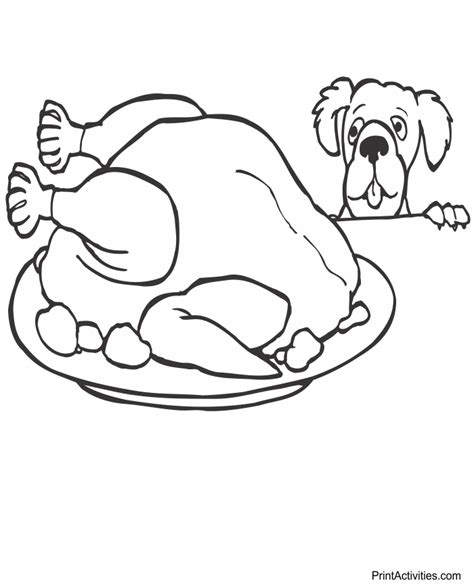 coloring pages of cooked turkey holiday coloring page dog eyeing cooked turkey