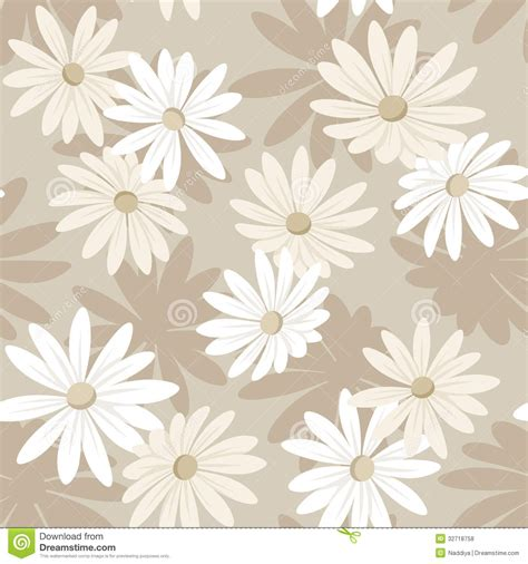 White Beige seamless background with white and beige flowers stock