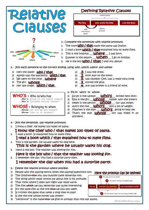 relative clauses worksheet free esl printable worksheets