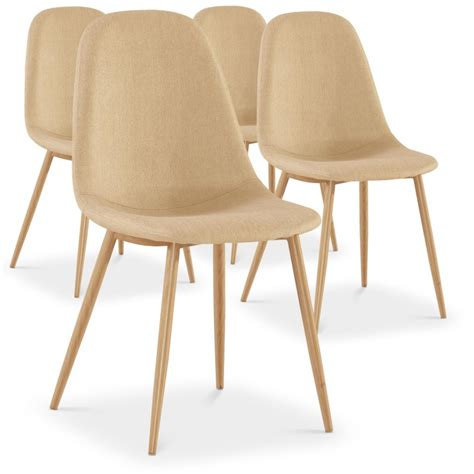 Chaise Scandinave by Chaises Scandinaves Karl Tissu Beige Lot De 4 Pas Cher