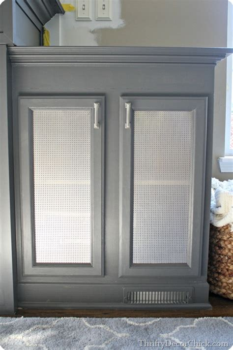 decorative metal screen for cabinets how to add metal sheeting to cabinet doors from thrifty
