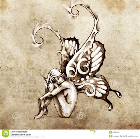 sketch of tattoo art fairy with butterfly wings stock