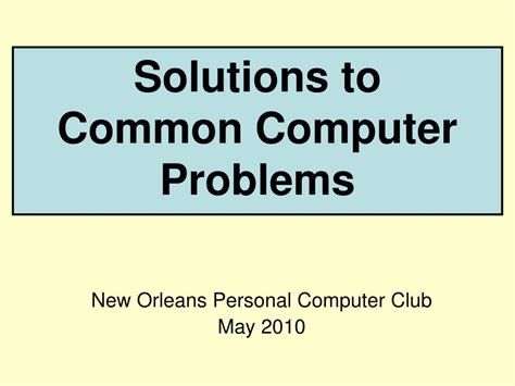 Troubleshooting Power Issues Desktop by Ppt Solutions To Common Computer Problems Powerpoint