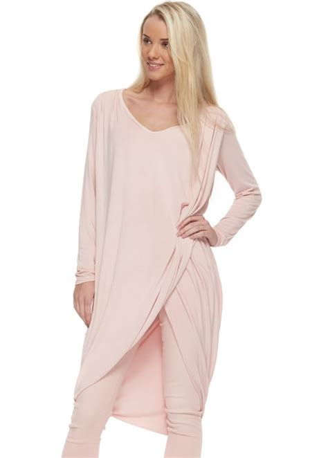Sugar Babe Pink Jersey Draped Tunic Top Pink Layering Top